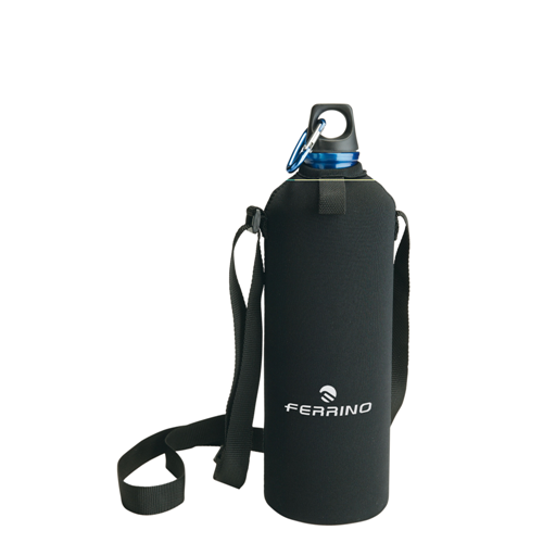 Water Bottle Neo Drink Red with Shoulder Strap and Case Neoprene 1 Lt Ferrino